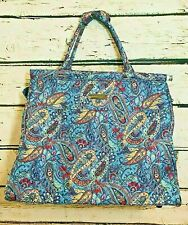 Cynthia Rowley travel weekend quilted bag blue paisley shoulder strap pockets
