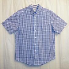 L.L. Bean Button Front Shirt Men's Medium M White Blue Checks Short Sleeve