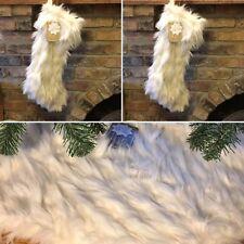 "3pc Nicole Miller Faux Fur 60"" Christmas Tree Skirt 2 Stocking Shaggy Cream Set"