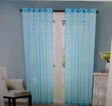 Mainstays Kids Sheer Window Panels - Set of 2 - Teal Dot - New