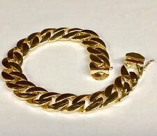 "14k Solid Yellow Gold Handmade Curb Link Men's Bracelet 8.5"" 74 Grams 13Mm"