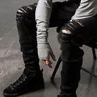 Mens Ripped Skinny Straight Slim Fit Jeans Black Denim Biker Long Pants Trousers