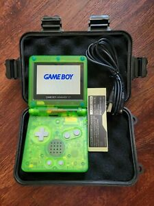 Nintendo Game Boy Advance GBA SP Clear Green AGS 101 Reshelled + Case & Charger
