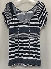 Size L Large VINTAGE SUZIE Women's Short Sleeve Striped Peasant Blouse Top Shirt