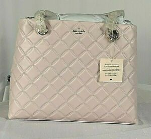 Kate Spade New York Natalia Smooth Quilted Leather Tote Chalk Pink NWT WKRU7073