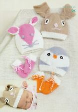 Baby DK and  Knitting Pattern  Baby Animal Character Hats Prem  to 3 years #192