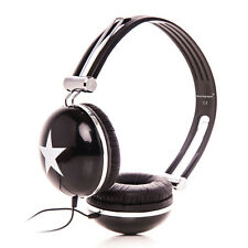 STAR OVERHEAD DJ HEADPHONES EARPHONES FOR Kindle fire HD / Samsung Galaxy Black