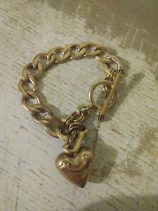 """Juicy Couture Gold Tone Chain Bracelet With Charm puffy Heart & Letter """"J"""""""
