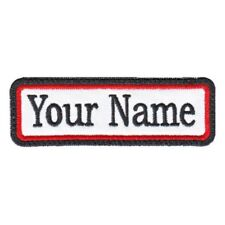 Rectangular 1 Line Custom Embroidered Biker SEW ON  Name Tag PATCH (BRB)