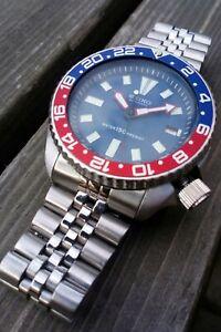 Seiko Diver Watch 7002 Mod Blue and Red  Pepsi GMT Bezel Restored Stunning!