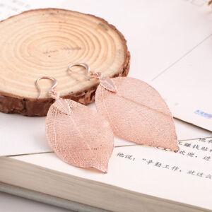 Ohrringe Rosegold Natural Leaf Anhänger Echtes Blatt Unikat Blattohrringe WOW