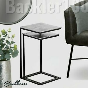 New Pair of modern SIDE TABLES metal black & silver tone NESTED Sofa End Tables