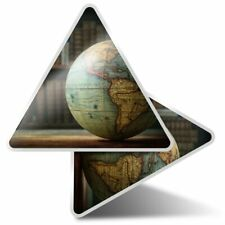 2 x Triangle Stickers 10 cm - Earth Globe Travel Geography Student  #24159
