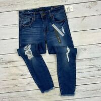 STS Blue Emma Crop Skinny Jeans Size 26 Womens Distressed Raw Frayed Hems