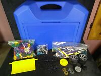 Lot of K'nex Pieces In Large Blue Storage Bin with Tires, Plow, Motor, Manual