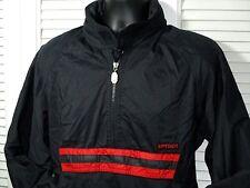 Spyder 1/4 Zip Pullover Windbreaker~Stowed Hood~Lined~Men's S-M~Black~Japan~EUC!