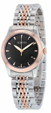 Gucci G-timeless Small Black Diamond Pattern Dial Two Toned Steel Watch YA126512