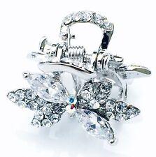 QUALITY Hair Claw Clip using Swarovski Crystal Hairpin Wedding Bridal Silver J01