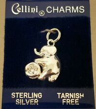 NEW Whimsical Elephant on Barrel CZ CELLINI 925 STERLING Silver Charm Pendant