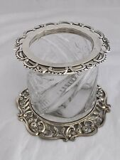 VICTORIAN Silver & Glass Pot Or Desk Tidy 1894 WILLIAM HUTTON London