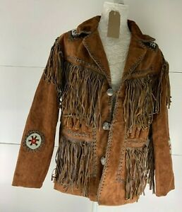 Vintage Men's Size S Leather Suede Jacket Fringed Tassels Native American Style