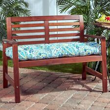 """Porch Swing Cushion Glider Bench Seat 52"""" Tufted Padded Patio Chair Paisley Blue"""