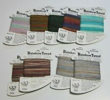 Lot of 9 cards of Rainbow Gallery Rainbow Tweed 4ply strandable for Needlepoint