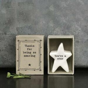 Porcelain Star Matchbox Gift - You're A Star - Being Amazing - East Of India