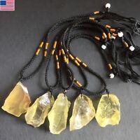 Natural Citrine Raw Gem Original Stone Crystal Pendant Healing Necklace Jewelry