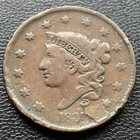 1835 Large Cent Coronet Head One Cent 1c Circulated Lamination ERROR  #2249