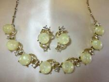 Vtg 60s Yellow Moonglow CORO CONFETTI LUCITE RHINESTONE Necklace Earrings Set