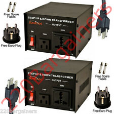 100 Watt 110 220 Volt Voltage Converter Transformer 100W 220v 110v - 2 PACK!