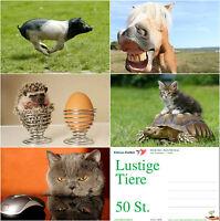 """""""LUSTIGE TIERE II"""": 50-er Postkarten-Set / Ansichtskarten, 5 Motive x 10 Karten"""