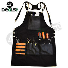 Professional Barber Apron Leather Pockets Black Barber Apron Hair Cutting Tools