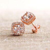 1Ct Morganite Earrings Stud Vintage Beautiful Halo Earring In 14K Rose Gold Over