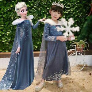 UK Elsa Girls Princess Dress Queen Cosplay Costume Grils Fancy Dress&Crown Elsa2
