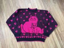 VTG 80s Neon Pink & Black CAT KITTY Slouch Sweater KAWAII Kei FAIRY Jumper Japan