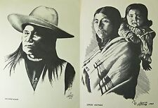 2 Vintage Art Prints Signed by Jack H Young NEZ PERCE WARRIOR & CROW MOTHER