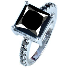 Solitaire .925 Silver Ring See Video 3.69ct Aaa Great Black Moissanite Princess