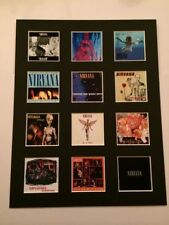 """Nirvana Kurt Cobain 14"""" by 11"""" LP Discography Covers Pic Mounted Ready to Frame"""