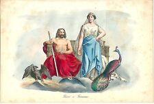 1858 GIOVE GIUNONE mitologia romana Roma Jupiter Juno litografia colore coevo