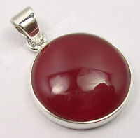 "925 Pure Silver RED FIRE CARNELIAN ECONOMIC Pendant 1.1"" NICE JEWELRY STORE"