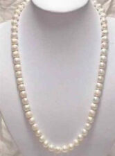"Natural!7-8mm White Akoya Cultured Pearl Necklace 23"" LL008"