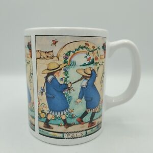 Vintage Mary Engelbreit Ink Ceramic Coffee Mug Girl Pals Tea Cup Cat Braid 12 oz