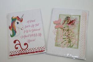 2 Handmade Cards + Envelopes Unicorn Delusional Thank You Embellished USA Made