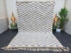 "Moroccan Handmade Beni Ourain Rug 6'7""x10'2"" Checkered Berber White Gray  Rug"