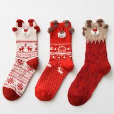 Lovely 3Pairs/lot Deer Women Cartoon Cotton Casual Long Socks Christmas Gift