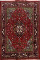 Floral Tebriz Hand-Knotted RED Area Rug 7x10 Traditional Oriental Wool Carpet