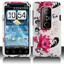 W Purple Flower Hard Case Phone Cover Sprint HTC EVO 3D