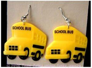 Huge Funky Yellow SCHOOL BUS EARRINGS Driver Teacher Mom Charms Costume Jewelry